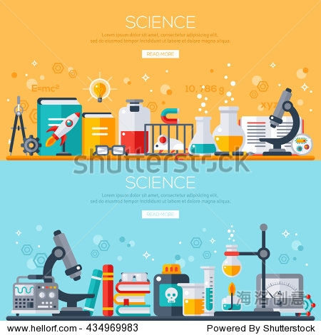 Flat design vector illustration concept of science. Horizontal banners set with scientist workplaces. Scientific Research  Chemical Experiment.