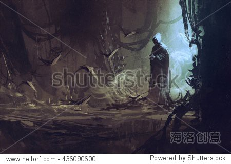 dark cloak in mysterious forest wizard sorcerer illustration