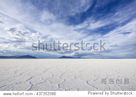 Wide Angle Closeup of White Salt Flats during sunset near Salt Lake City  Utah