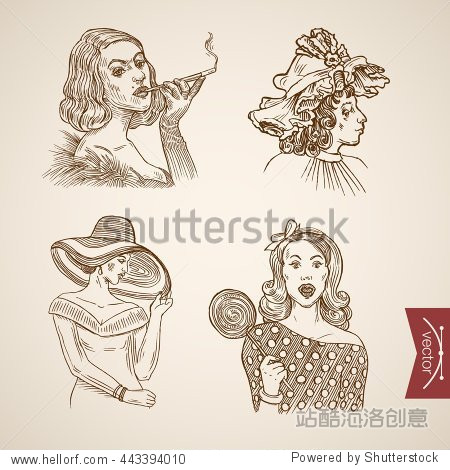 Fashionably dressed pretty girls portrait icon set. Engraving style pen pencil crosshatch hatching paper painting retro vintage vector lineart illustration. Fashion hat headband stylish woman candy.