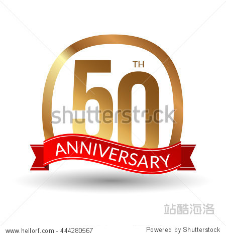 50 years anniversary experience gold label with blue ribbon  vector illustration.