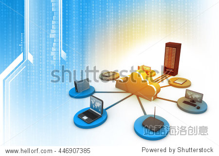 3d illustration of cloud computing concept  abstract technology background