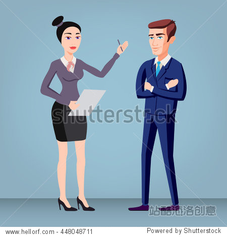 Colored flat design style illustration of business people - man and woman - dressed in suits. Isolated on stylish background. For infographics  banners and printed materials. vector art