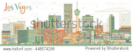 Abstract Las Vegas Skyline with Color Buildings. Business Travel and Tourism Concept with Modern Buildings. Image for Presentation Banner Placard and Web Site.
