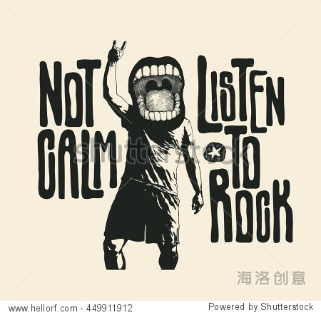 Design not calm listen to rock for t shirt print with for T shirt printing exhibition