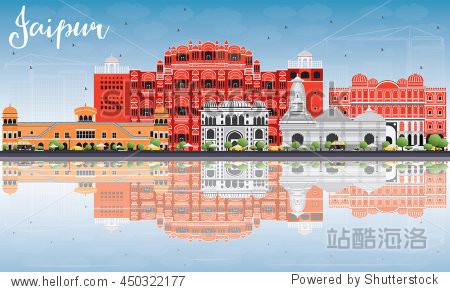 Jaipur Skyline with Color Landmarks  Blue Sky and Reflections. Business Travel and Tourism Concept with Historic Buildings. Image for Presentation Banner Placard and Web Site.