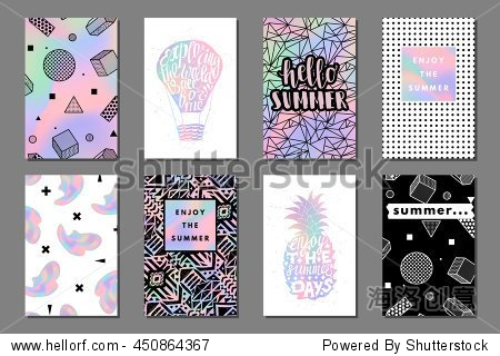 Creative bright summer journaling cards. Retro memphis holographic posters with balloon and pineapple. Hello typography. Vector minimal design for banner  cover  flyer  brochure  wallpaper  invitation