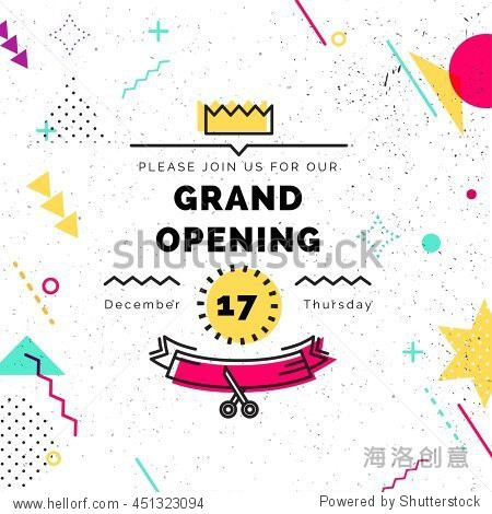 Grand opening colorful banner. Vector background in retro 80s  90s memphis style. Scissors cutting red ribbon
