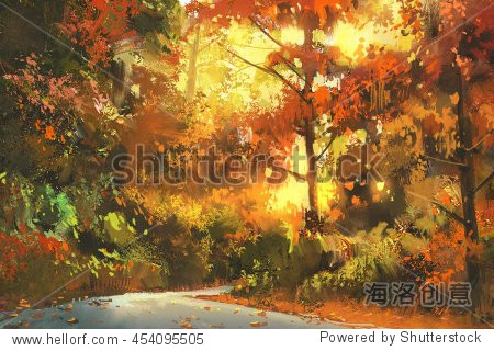 pathway through the colorful forest autumn landscape painting illustration