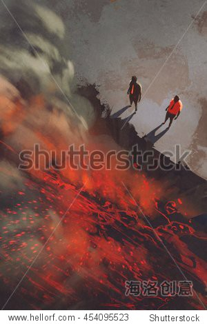 two men standing at the edge of the volcanic rock cliff with lava illustration digital painting