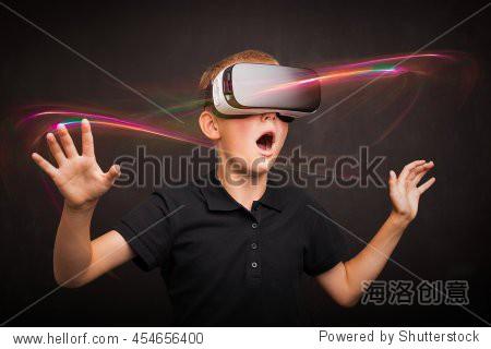 Boy experiencing virtual reality