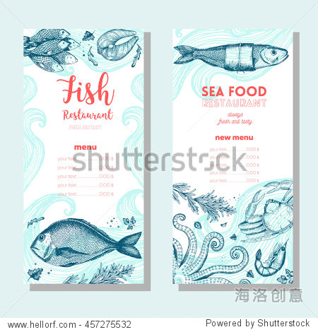 Seafood vintage design template. Vertical banners set. Vector illustration hand drawn linear art. Fish and seafood restaurant menu. Hand drawn sketch seafood menu vector banners