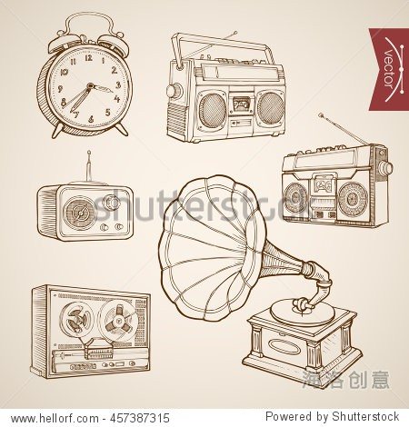 Engraving vintage hand drawn vector music and sound retro equipment collection. Pencil Sketch Gramophone  Tape recorder  Radio  Clock illustration.