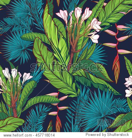 Tropical jungle seamless pattern on dark blue background