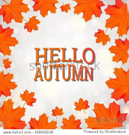 hello autumn template with orange maple leaf on gray background design sale gold