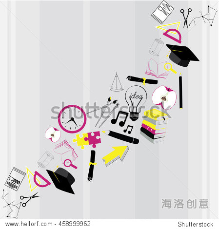 school items on white background. Back to School. Vector illustration. Set