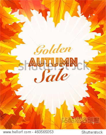 autumn sale  vector background maple leaves frame