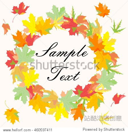Illustration with maple leaves on the theme of autumn.