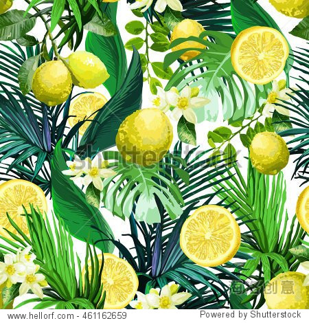 Seamless pattern of Lemon  flowers and tropical leaves on a white background.