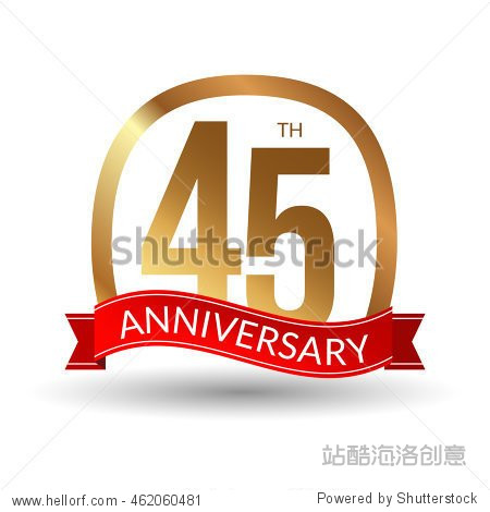 45 years anniversary experience gold label with red ribbon  vector illustration.