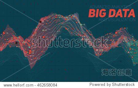 Big data visualization. Futuristic infographic. Information aesthetic design. Visual data complexity. Complex data threads graphic visualization. Social network representation.  Abstract data graph.