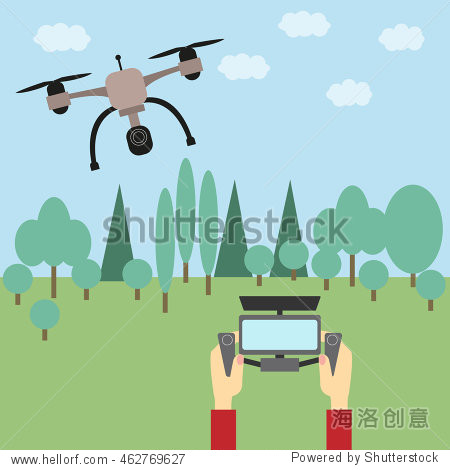 Man operating a drone with remote control.  Vector flat design illustration.
