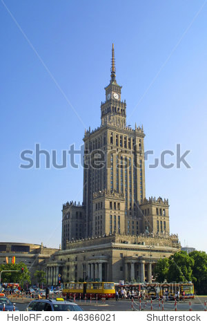 One of the highest building of Europe - Palace of Culture and Science in Warsaw  Poland