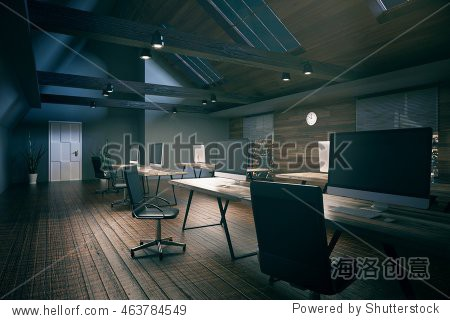 Coworking office room with blank computer display  wooden floor  walls  ceiling and night city view. Country style interior. Mock up  3D Rendering