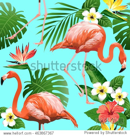 Tropical trendy seamless pattern with flamingos  exotic flowers and leaves.