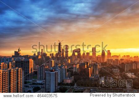 Beijing CBD skyline sunset  night