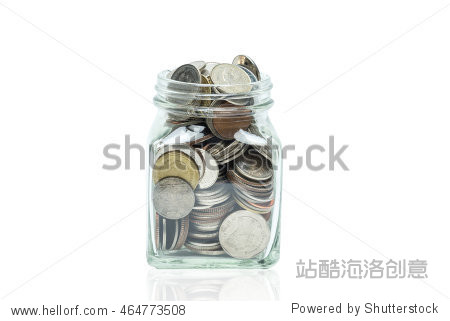 Glass jar of coins isolated on white. Photo with clipping path