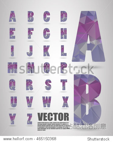 Vector alphabet mosaic font Low poly font on polygon concept vector. Abstract letters.