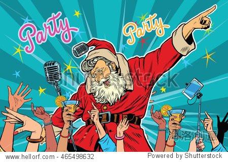 Christmas party Santa Claus singer  pop art retro vector illustration
