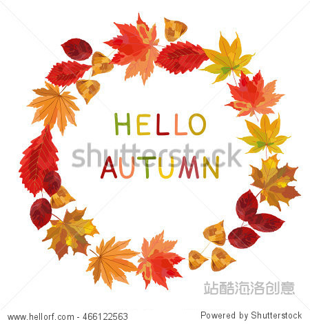 Autumnal round frame. Wreath of autumn leaves. Background with hand drawn autumn leaves. Fall of the leaves. Sketch  design elements. Vector illustration.