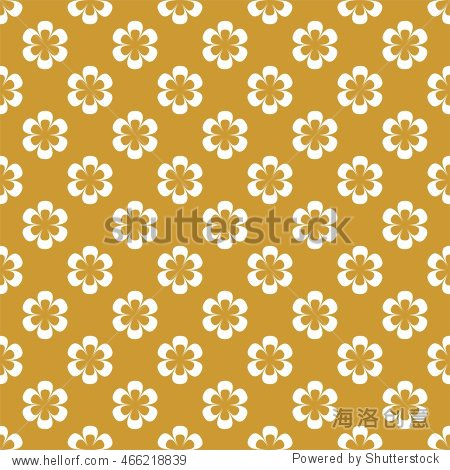Golden background of white flowers in a row side by side and alternately under him on a golden background