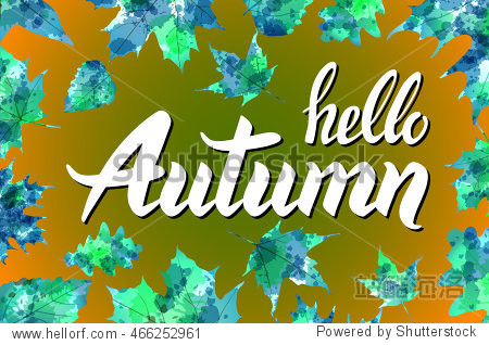Hello autumn. Hand drawn different colored leaves. Sketch  design elements.  illustration. art