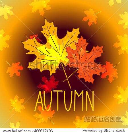 Autumn inscription maple leaves  vector illustration