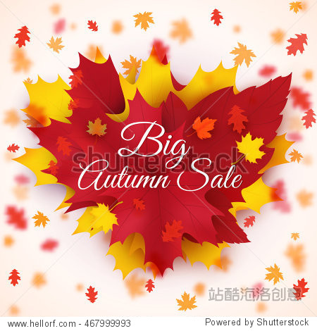 Big Autumn seasonal sale vector background with colorful falling leaves. Autumn theme
