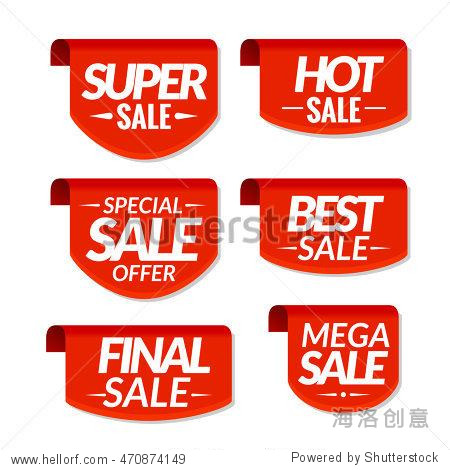 Sale tags labels. Special offer mega sale discount banners