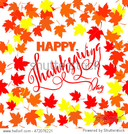 Happy Thanksgiving with text greeting and autumn leaves frames. Vector illustration EPS10