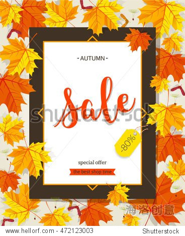 Autumn sale vintage vector typography poster with autumn color leaves. Vector illustration