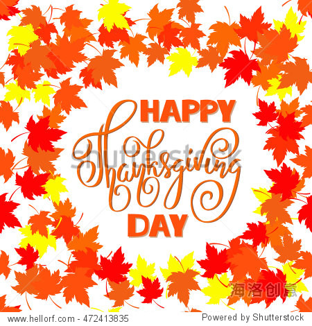 Happy Thanksgiving with text greeting and autumn leaves . Vector illustration EPS10