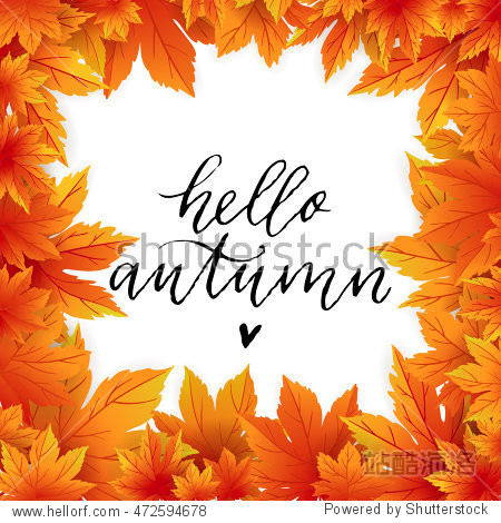 Autumn flyer template with lettering. Bright fall leaves. Poster  card  label  banner design. Vector illustration EPS10