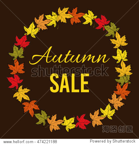Autumn fall sale poster. Vector illustration