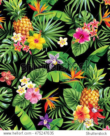 Seamless tropical pattern with pineapples  palm leaves and flowers. Vector illustration.