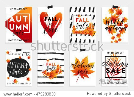 Collection of autumn sale and other typography flyer template with lettering. Bright fall leaves. Poster  card  label  banner design set. Vector illustration EPS10