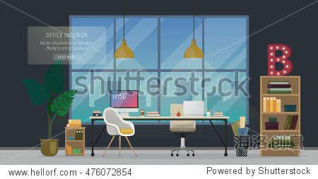Design of modern office designer workplace. Creative office workspace with big window  desktop  modern monitor  furniture in interior. Vector illustration in flat minimalistic design  website banner