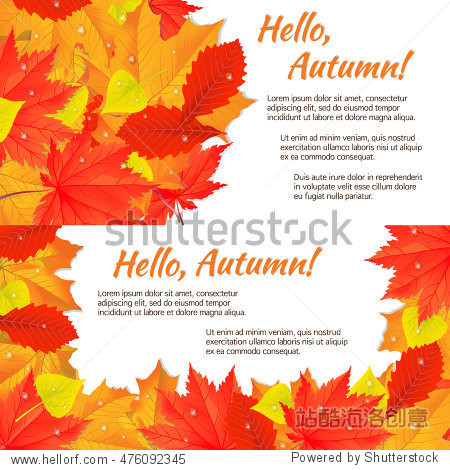 Two autumn horizontal banners with yellow  orange  red fallen leaves. Concept for invitation card or promotional flyer. Vector illustration. EPS10.