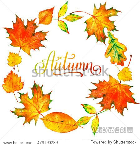 Wreath of autumn watercolor leaves. Background with hand paint autumn leaves. Fall of the leaves. Sketch  design elements.