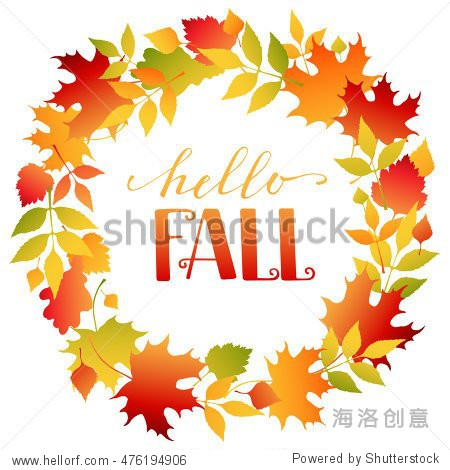 Wreath of autumn colorful  vector leaves. Background with hand drawn autumn leaves. Fall of the leaves  autumn frame. Sketch  design elements.